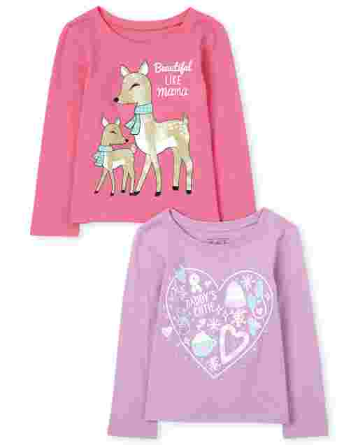 Toddler Girls Long Sleeve Family Graphic Tee 2-Pack