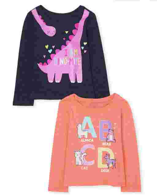 Baby And Toddler Girls Long Sleeve 'ABCD' And 'I Am Dinomite' Graphic Tee 2-Pack