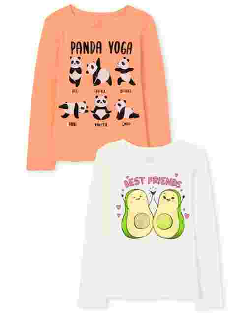 Girls Long Sleeve 'Panda Yoga' And 'Best Friends' Avocado Graphic Tee 2-Pack