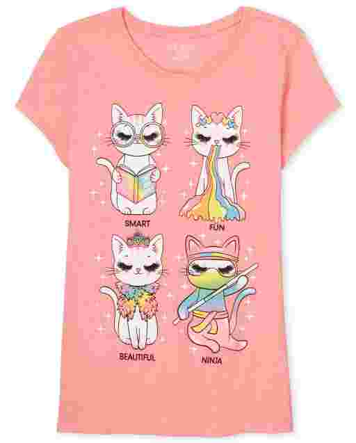 Girls Short Sleeve Filter Cat Graphic Tee
