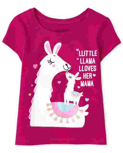 Baby And Toddler Girls Short Sleeve 'Little Llama Loves Her Mama' Graphic Tee
