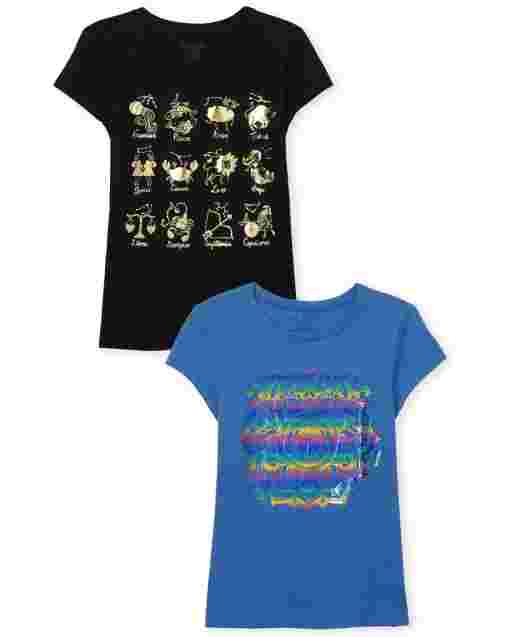 Girls Short Sleeve Trend Graphic Tee 2-Pack
