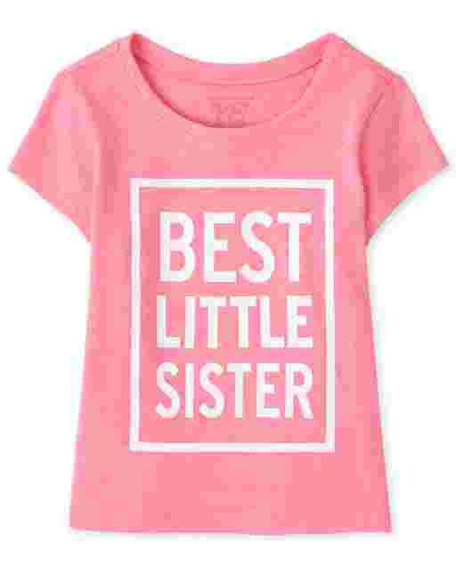 Baby And Toddler Girls Short Sleeve 'Best Little Sister' Graphic Tee