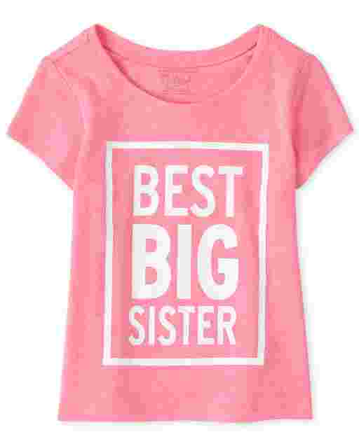 Baby And Toddler Girls Short Sleeve 'Best Big Sister' Graphic Tee