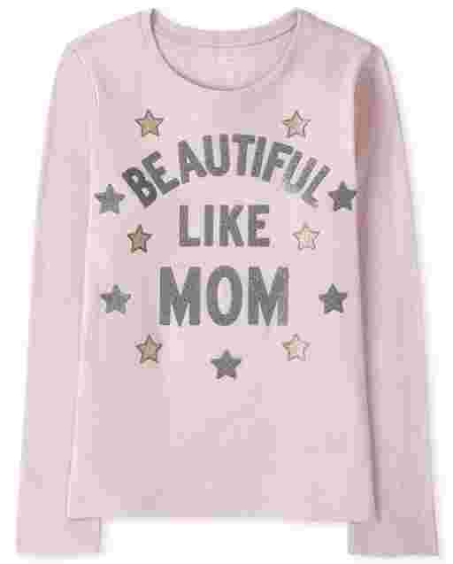 Camiseta de manga larga para niñas ' Beautiful Like Mom ' Graphic Tee