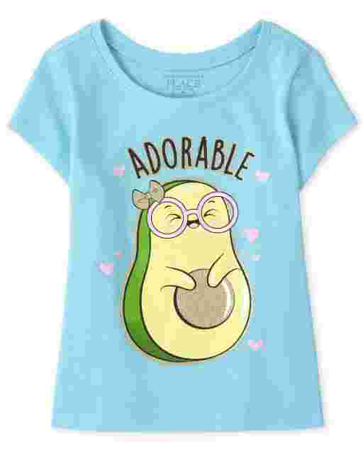 Baby And Toddler Girls Short Sleeve 'Adorable' Avocado Graphic Tee