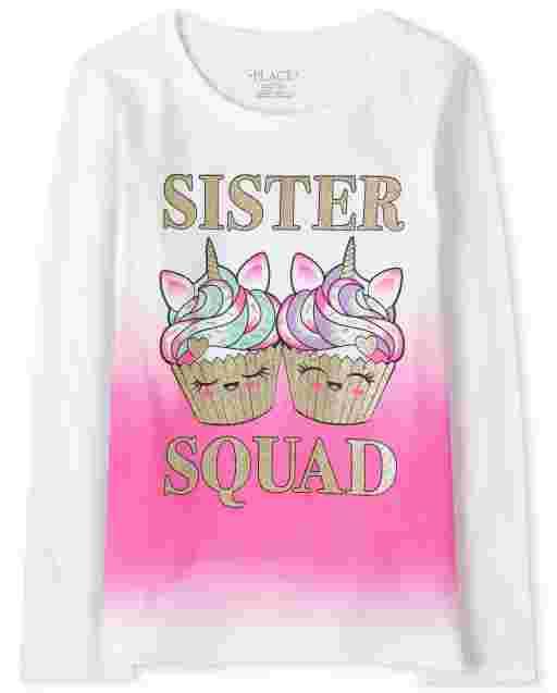 Camiseta estampada para niñas Sister Squad
