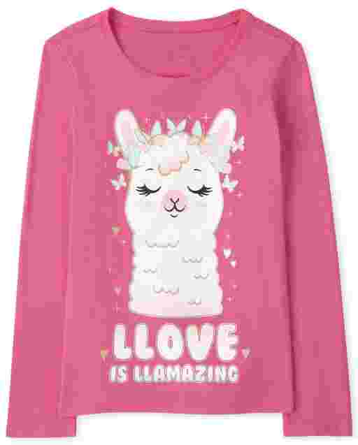 Camiseta estampada Girls Love Llama