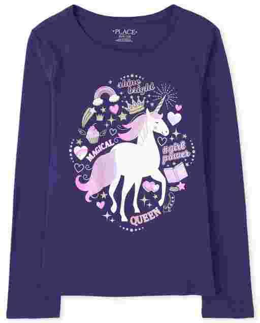 Camiseta con estampado de unicornio para niñas