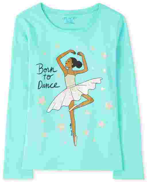 Girls Long Sleeve 'Born To Dance' Ballerina Graphic Tee