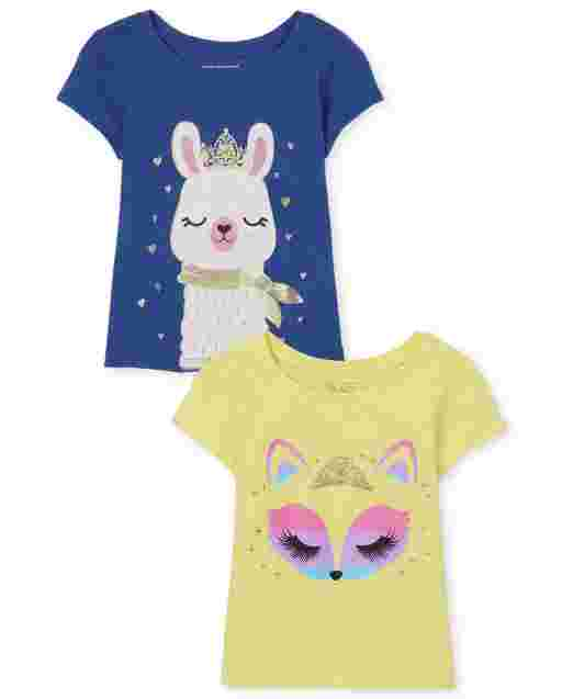 Baby And Toddler Girls Short Sleeve Llama And Fox Graphic Tee 2-Pack