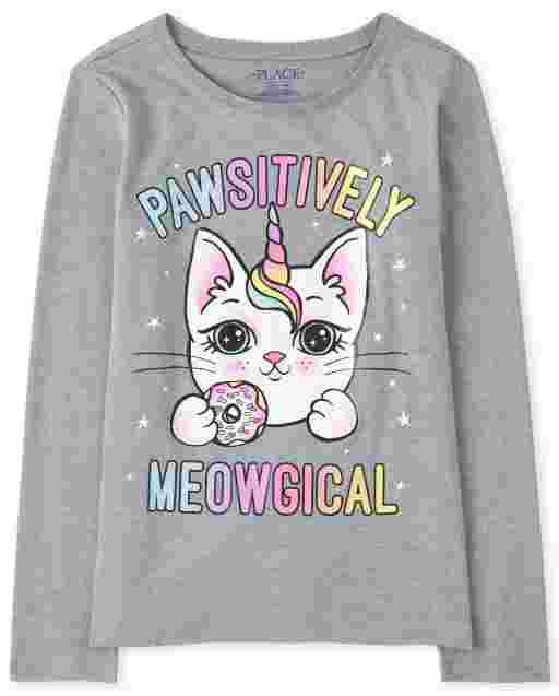 Girls Long Sleeve 'Pawsitively Meowgical' Caticorn Graphic Tee