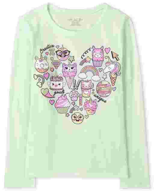 Camiseta con estampado de corazones para niñas