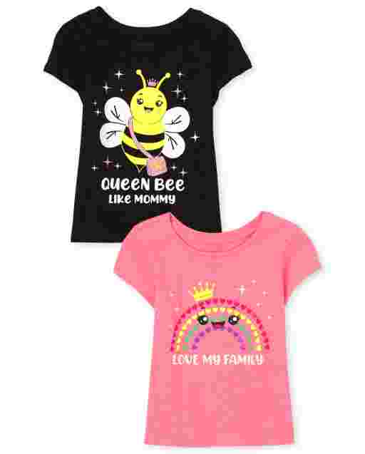 Baby And Toddler Girls Short Sleeve 'Love My Family' And 'Queen Bee Like Mommy' Graphic Tee 2-Pack