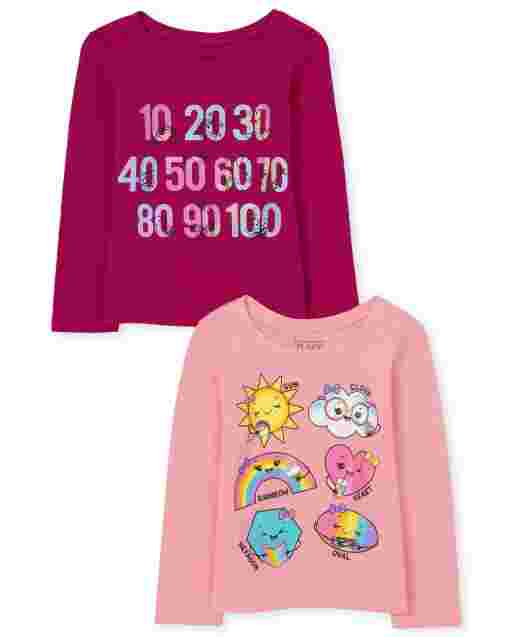 Baby And Toddler Girls Long Sleeve Shapes And Numbers Graphic Tee 2-Pack