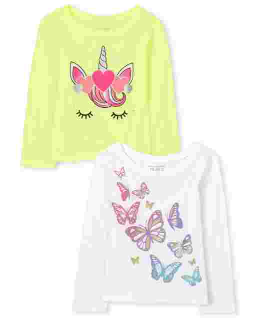Baby And Toddler Girls Long Sleeve Unicorn And Butterfly Graphic Tee 2-Pack
