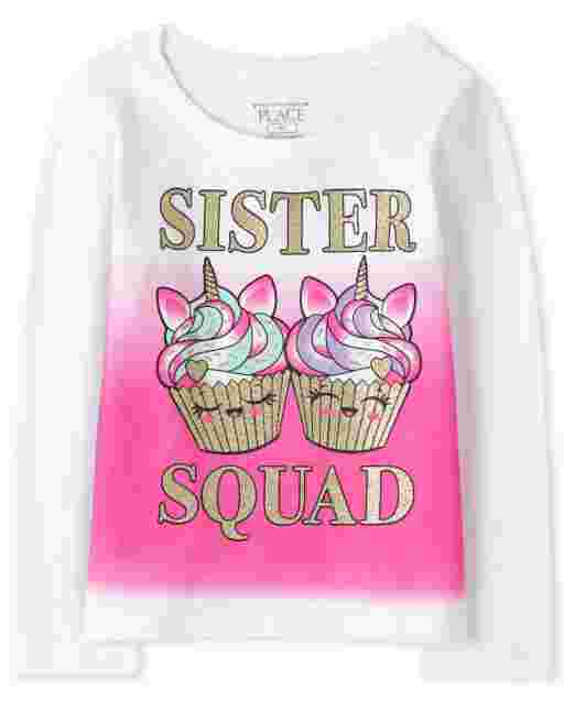 Baby And Toddler Girls Long Sleeve 'Sister Squad' Unicorn Cupcakes Graphic Tee