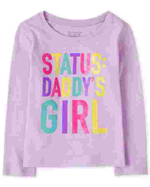 Baby And Toddler Girls Long Sleeve 'Status Daddy's Girl' Graphic Tee