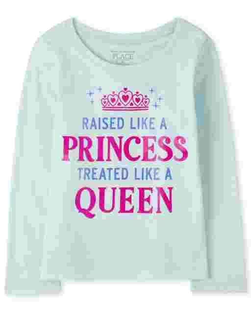 Baby And Toddler Girls Long Sleeve 'Raised Like A Princess Treated Like A Queen' Graphic Tee