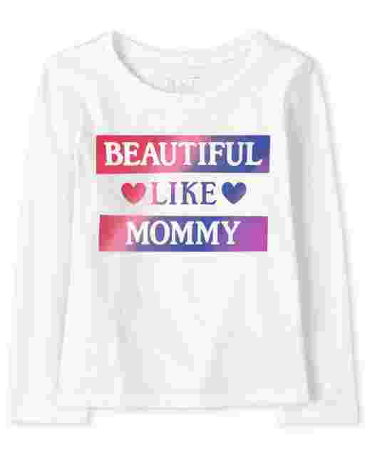 Baby And Toddler Girls Long Sleeve 'Beautiful Like Mommy' Graphic Tee