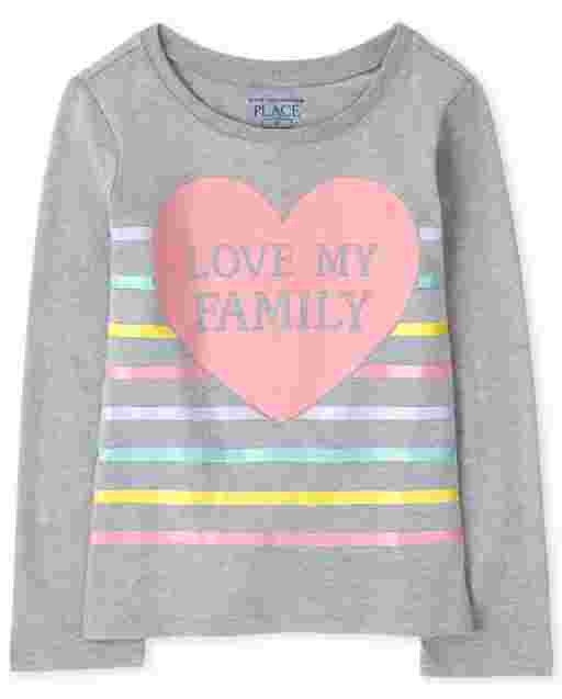 Baby And Toddler Girls Long Sleeve 'Love My Family' Graphic Tee
