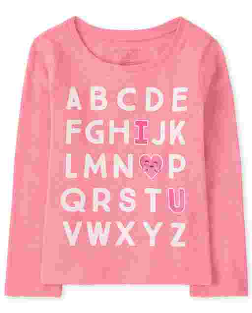 Baby And Toddler Girls Long Sleeve Alphabet Graphic Tee