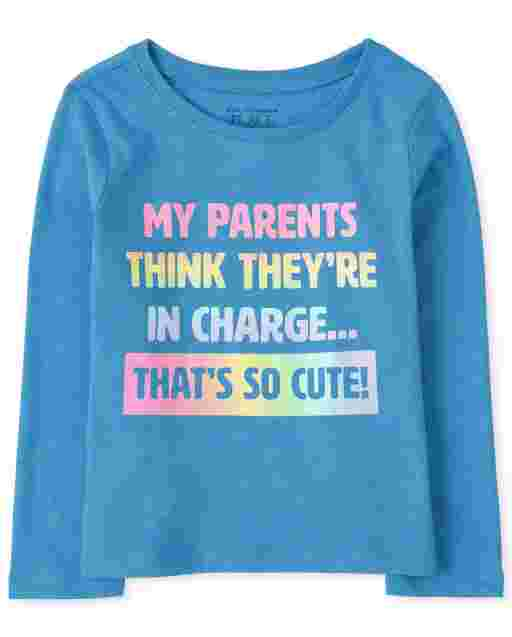 Baby And Toddler Girls Long Sleeve 'My Parents Think They're In Charge... That's So Cute!' Graphic Tee