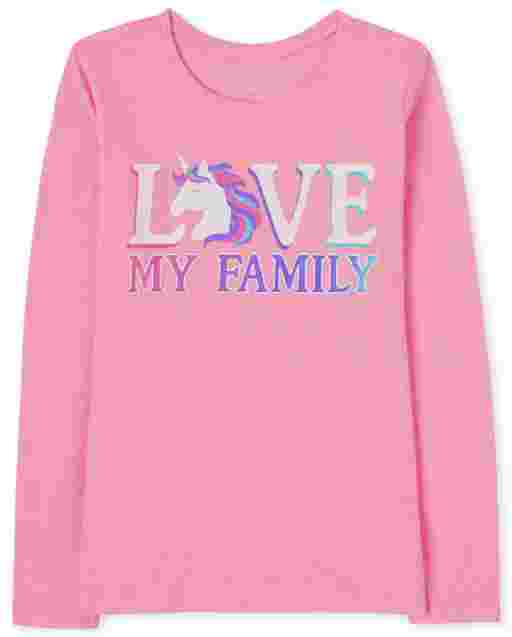 Camiseta estampada Girls Love My Family