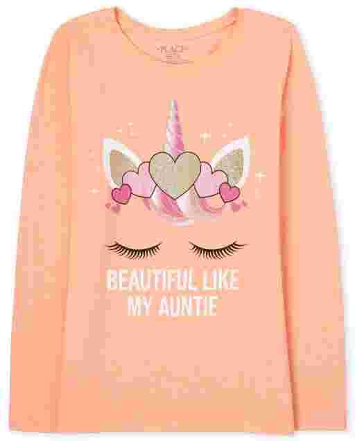 Camiseta estampada Unicorn Auntie para niñas