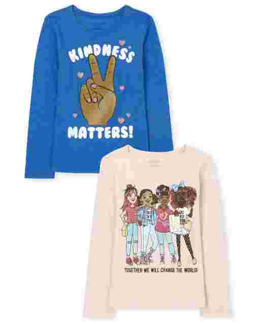 Girls Long Sleeve 'Kindness Matters' And Girl Squad Graphic Tee 2-Pack