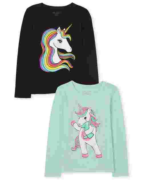 Girls Long Sleeve Unicorn Graphic Tee 2-Pack
