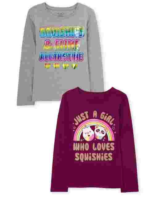 Girls Long Sleeve 'Just A Girl Who Loves Squishies' And 'Squishies And Slime All The Time' Graphic Tee 2-Pack