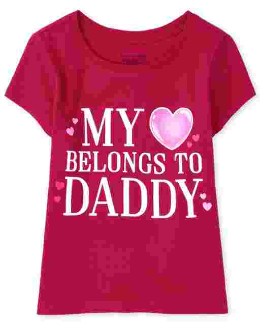 Baby And Toddler Girls Valentine's Day Short Sleeve 'Mommy And Daddy's Valentine' Graphic Tee