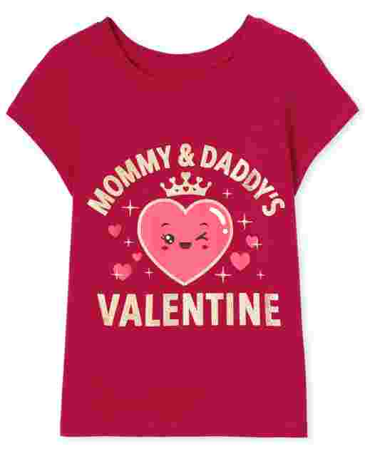 Baby And Toddler Girls Valentine's Day Short Sleeve 'My Heart Belongs To Daddy' Graphic Tee