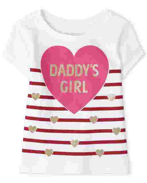 Baby And Toddler Girls Valentine's Day Short Sleeve 'Daddy's Girl' Graphic Tee