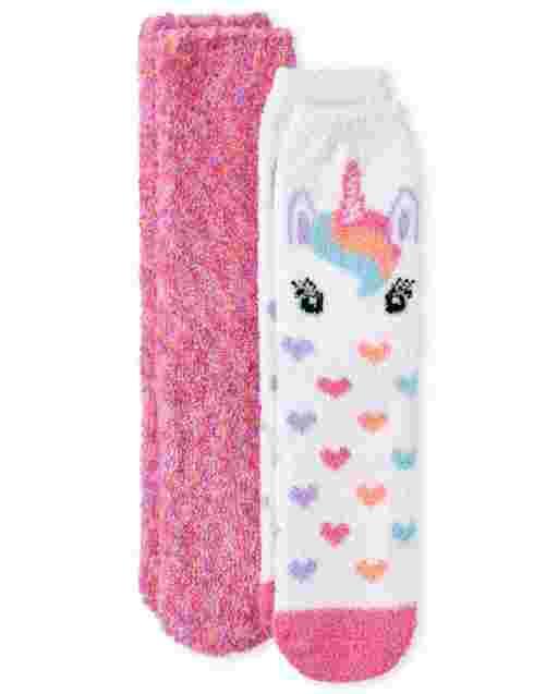 Girls Unicorn Cozy Socks 2-Pack