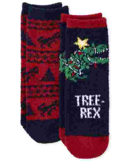 Toddler Boys Tree-Rex Cozy Socks 2-Pack