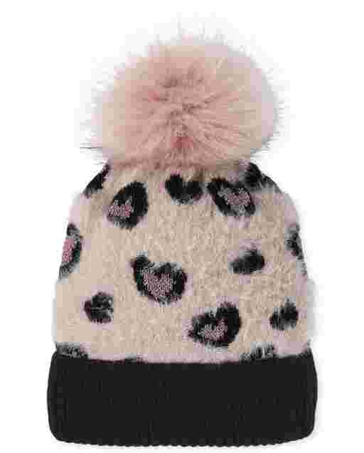 Girls Leopard Faux Fur Pom Pom Beanie