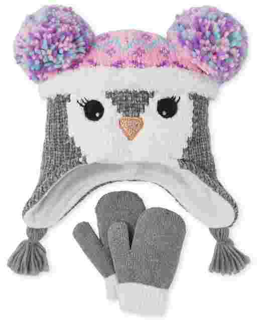 Toddler Girls Penguin Hat And Mittens Set