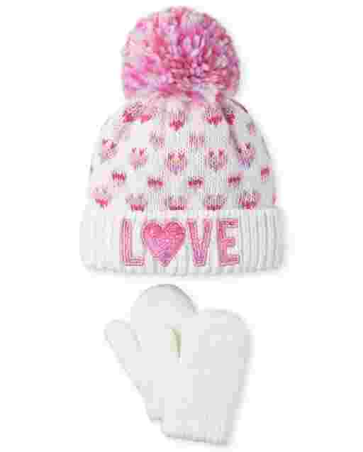 Toddler Girls Love Pom Pom Beanie And Mittens Set