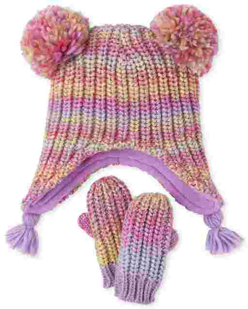 Toddler Girls Rainbow Space Dye Hat And Mittens Set