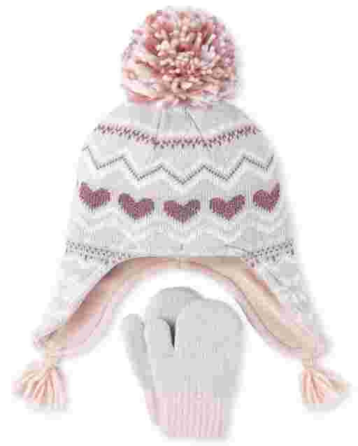 Toddler Girls Fairisle Heart Hat And Mittens Set