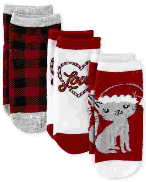 Toddler Girls Christmas Cat Midi Socks 3-Pack