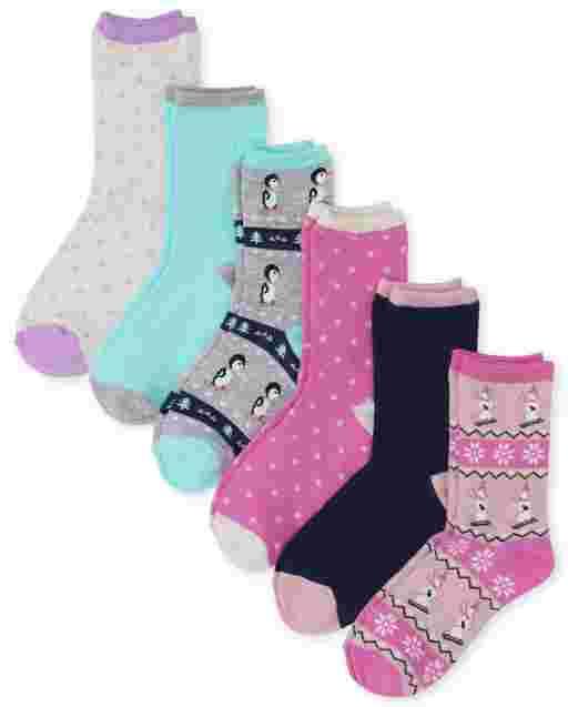 Girls Winter Crew Socks 6-Pack