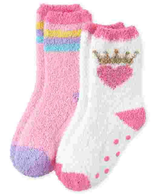 Girls Crown Cozy Socks 2-Pack