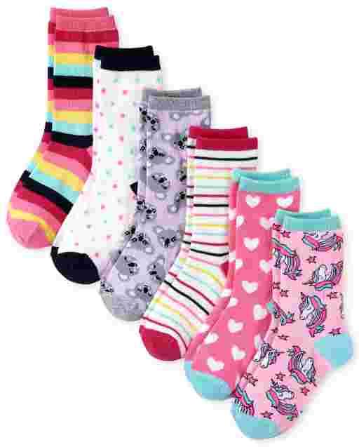 Girls Rainbow Critter Crew Socks 6-Pack