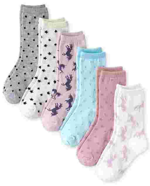 Girls Metallic Unicorn Crew Socks 6-Pack