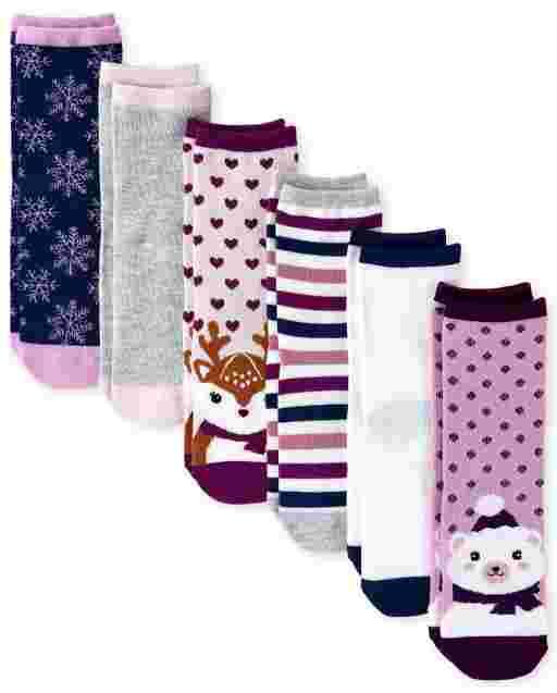 Girls Winter Critter Crew Socks 6-Pack