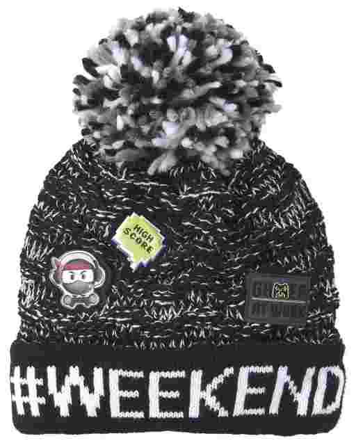 Boys 'Hashtag Weekend' Emoji Pom Pom Beanie
