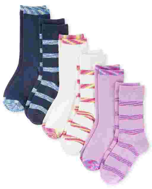 Girls Striped Super Soft Crew Socks 6-Pack